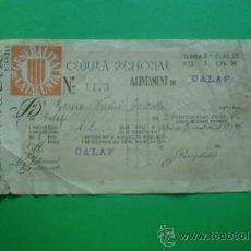 Documentos antiguos: CEDULA PERSONAL GENERALITAT DE CATALUNYA - AJUNTAMENT CALAF 16-08-1.935. Lote 33439922