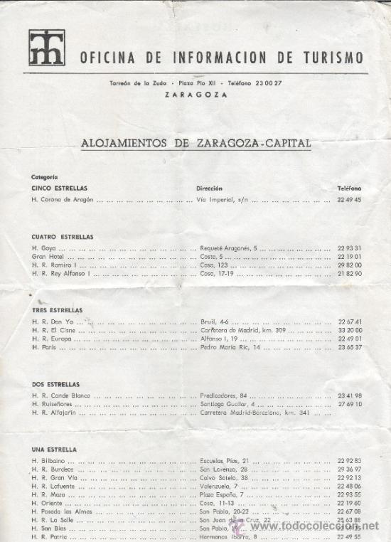 Documento de oficina de informacion de turismo comprar en todocoleccion 33778166 - Oficina de turismo zaragoza ...