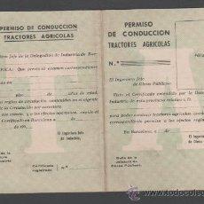 Documentos antiguos: 0200 ANTIGUO PERMISO DE CONDUCCION DE TRACTORES AGRICOLAS - AÑOS 50 - NUEVO SIN RELLENAR. Lote 34095514