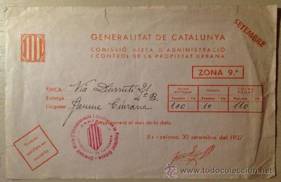 RECIBO DE ALQUILER. BARCELONA, VÍA DURRUTI. 1937. GUERRA CIVIL. (Coleccionismo - Documentos - Otros documentos)