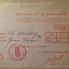 Documentos antiguos: RECIBO DE ALQUILER. BARCELONA, VÍA DURRUTI. 1937. GUERRA CIVIL.. Lote 34282936