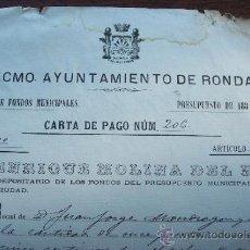 Alte Dokumente - AYUNTAMIENTO DE RONDA 1884 - CARTA DE PAGO - 34438501