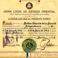 Documentos antiguos: DOCUMENTO, TITULO MASON , MASONERIA LOGIA, CUBA 1948 , ORIGINAL ,D1. Lote 34473864