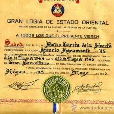 Documentos antiguos: DOCUMENTO, TITULO MASON , MASONERIA LOGIA, CUBA 1946 , ORIGINAL ,D1. Lote 34473875