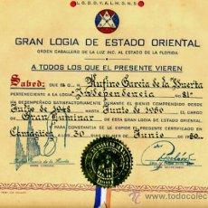 Documentos antiguos: DOCUMENTO, TITULO MASON , MASONERIA LOGIA, CUBA 1950 , ORIGINAL ,D1. Lote 34473883