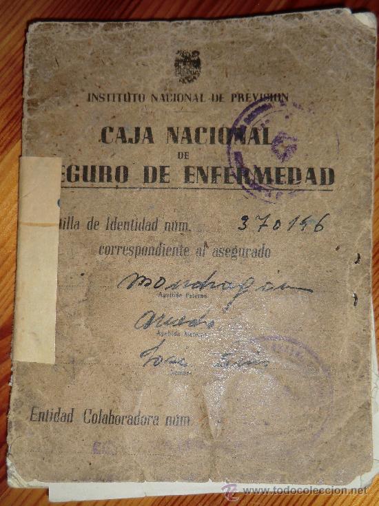 CAJA NACIONAL DE SEGURO DE ENFERMEDAD - CARTILLA DE IDENTIDAD- INSTITUTO NACIONAL DE PREVISION 1946 (Coleccionismo - Documentos - Otros documentos)