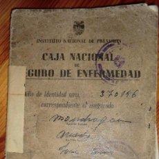 Documentos antiguos: CAJA NACIONAL DE SEGURO DE ENFERMEDAD - CARTILLA DE IDENTIDAD- INSTITUTO NACIONAL DE PREVISION 1946. Lote 34593182