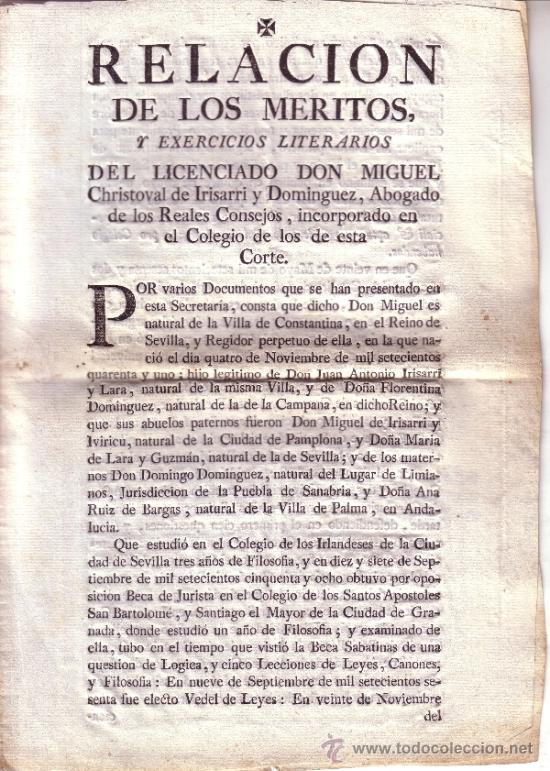 DOCUMENTO RELACION DE LOS MERITOS Y EXERCICIOS LITERARIOS DEL LICENCIADO D. MIGUEL CHRISTOVAL..... (Coleccionismo - Documentos - Otros documentos)