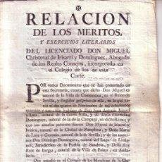 Documentos antiguos: DOCUMENTO RELACION DE LOS MERITOS Y EXERCICIOS LITERARIOS DEL LICENCIADO D. MIGUEL CHRISTOVAL...... Lote 34640067