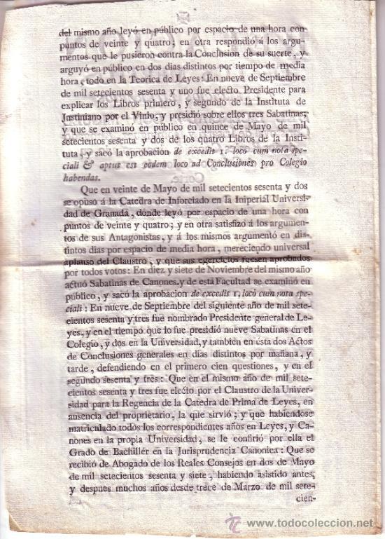 Documentos antiguos: DOCUMENTO RELACION DE LOS MERITOS Y EXERCICIOS LITERARIOS DEL LICENCIADO D. MIGUEL CHRISTOVAL..... - Foto 2 - 34640067