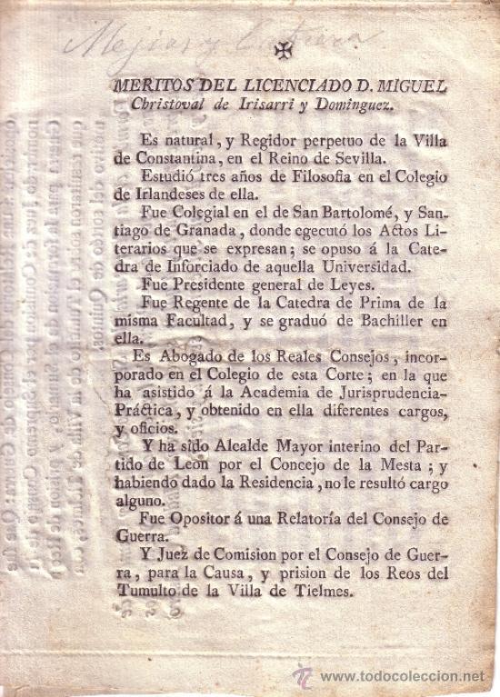 Documentos antiguos: DOCUMENTO RELACION DE LOS MERITOS Y EXERCICIOS LITERARIOS DEL LICENCIADO D. MIGUEL CHRISTOVAL..... - Foto 4 - 34640067
