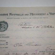 Documentos antiguos: FRANCIA.CARTA DE LA SOCIEDAD NAVAL A VAPOR. AÑO 1933. TAMAÑO FOLIO. Lote 34666852