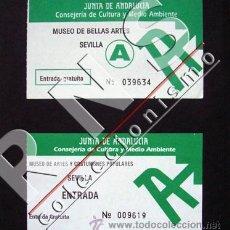 Documentos antiguos: 2 ANTIGUAS ENTRADAS MUSEOS DE SEVILLA - TIQUE BELLAS ARTES Y MUSEO DE ARTES Y COSTUMBRES ENTRADA. Lote 14332032