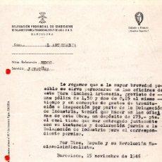 Documentos antiguos: DOCUMENTO JUNTA PROVINCIAL CLASIFICADORA DE ARTESANIA TEXTIL BARCELONA. Lote 34895232