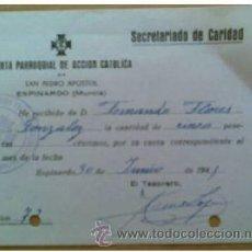 Documentos antiguos: A127-JUNTA PARROQUIAL ACCION CATOLICA MURCIA DOCUMENTO DOCUMENTO FRANQUISTA. Lote 35064893