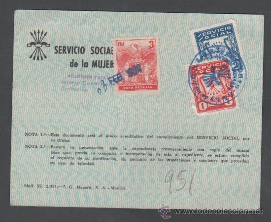 L3-11 CARNET DEL SERVICIO SOCIAL DE LA MUJER DE BARCELONA - 10 DE FEBRERO DE 1964 - SELLOS DE 1 Y (Coleccionismo - Documentos - Otros documentos)