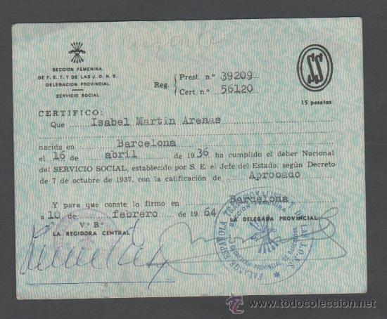 Documentos antiguos: L3-11 CARNET DEL SERVICIO SOCIAL DE LA MUJER DE BARCELONA - 10 de febrero de 1964 - Sellos de 1 y - Foto 2 - 35220995