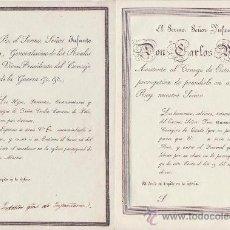 Documentos antiguos: 2 RUEGOS DEL INFANTE CARLOS MARIA DE ASISTENCIA A FUNERAL DE GOMEZ CALDERON Y CAREAU DE POLO.. Lote 35222297