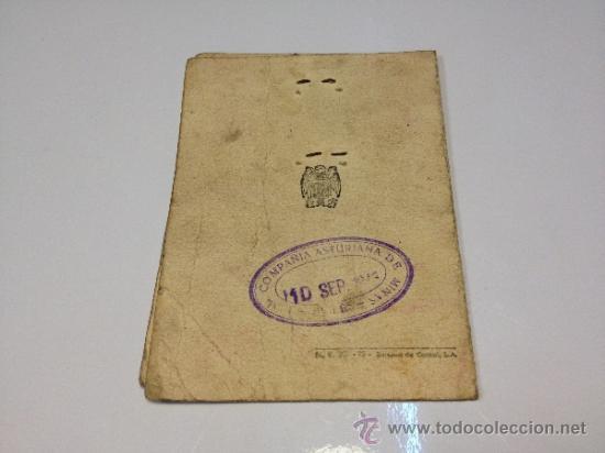 Documentos antiguos: CARNET DE IDENTIDAD 1945 COMPAÑÍA ASTURIANA DE MINAS - Foto 2 - 35269427
