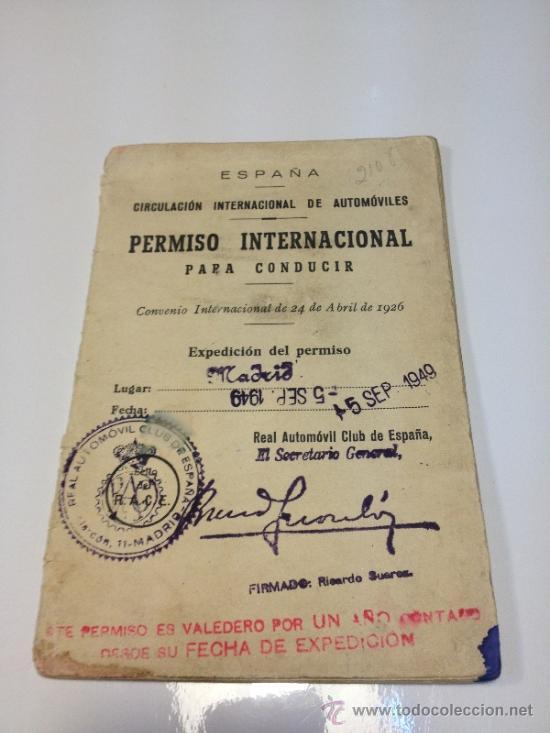PERMISO INTERNACIONAL PARA CONDUCIR 1949 (Coleccionismo - Documentos - Otros documentos)