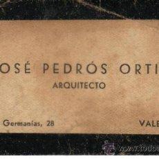 Documentos antiguos: VALENCIA. TARJETA DE VISITA DE ARQUITECTO. Lote 35301424
