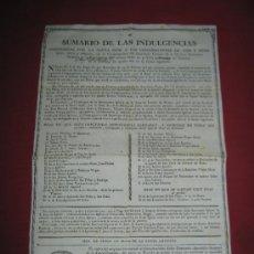 Documentos antiguos: DOCUMENTO CON SUMARIO DE LAS INDULGENCIAS CONCEDIDAS POR LA SANTA SEDE - ZALAMEA DE LA SERENA 1887. Lote 35713950