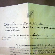 Documentos antiguos: DOCUMENTO, DOCUMENTO ANTIGUO, BAUTIZO, 1922. Lote 35377231
