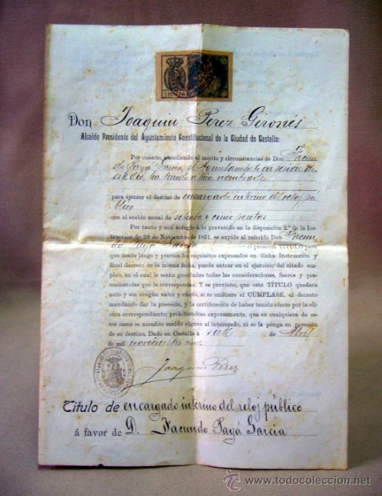 DOCUMENTO, DOCUMENTO ANTIGUO, TITULO DE ENCARGADO INTERNO DEL RELOJ PUBLICO, 1901 (Coleccionismo - Documentos - Otros documentos)