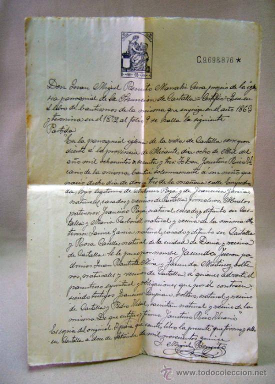 DOCUMENTO, DOCUMENTO ANTIGUO, BAUTISMO, 1915, ALICANTE (Coleccionismo - Documentos - Otros documentos)