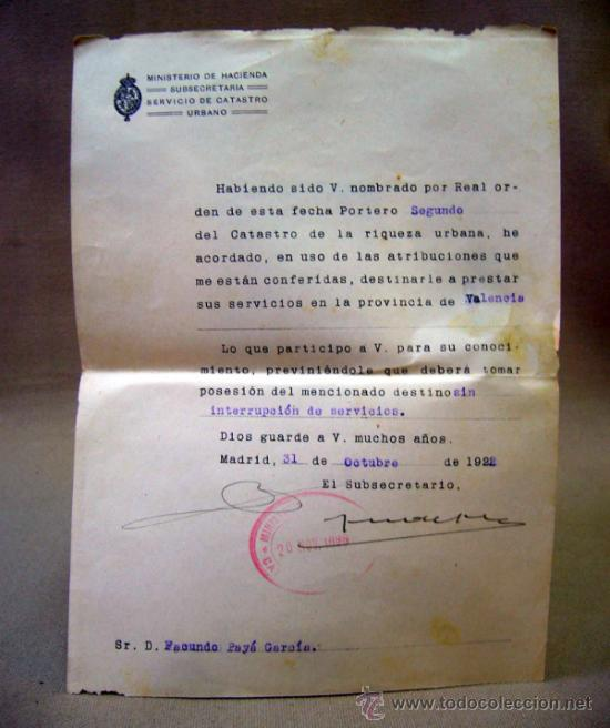 DOCUMENTO, DOCUMENTO ANTIGUO, MINISTERIO DE HACIENDA, 1922, REAL ORDENANZA (Coleccionismo - Documentos - Otros documentos)