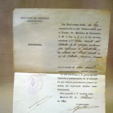 Documentos antiguos: DOCUMENTO, DOCUMENTO ANTIGUO, MINISTERIO DE HACIENDA, 1922, CREDENCIAL. Lote 35377550