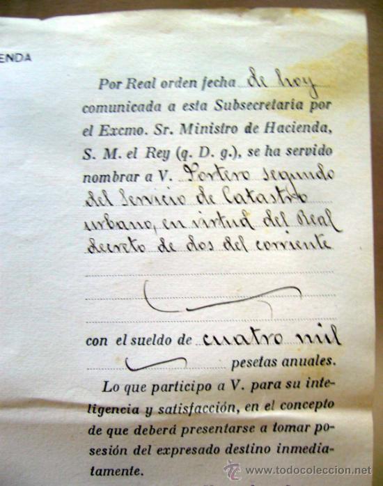 Documentos antiguos: DOCUMENTO, DOCUMENTO ANTIGUO, MINISTERIO DE HACIENDA, 1920, CREDENCIAL - Foto 2 - 35377536