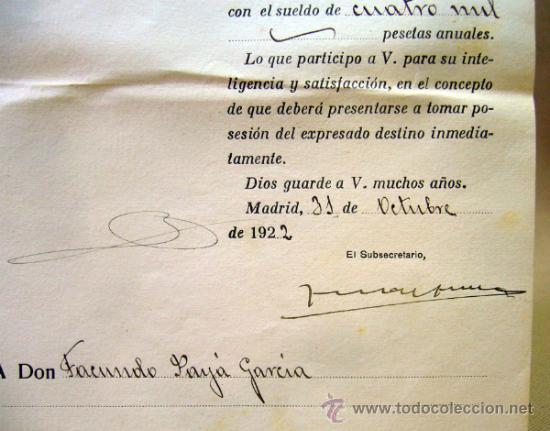 Documentos antiguos: DOCUMENTO, DOCUMENTO ANTIGUO, MINISTERIO DE HACIENDA, 1920, CREDENCIAL - Foto 3 - 35377536