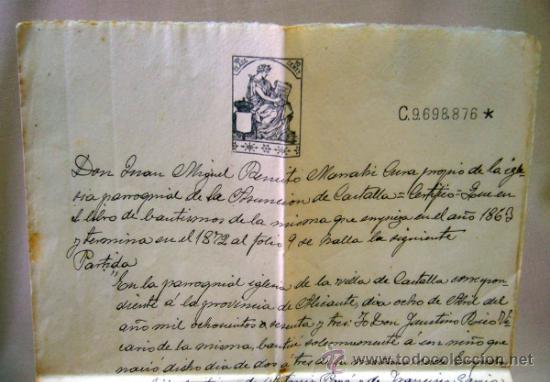 Documentos antiguos: DOCUMENTO, DOCUMENTO ANTIGUO, BAUTISMO, 1915, ALICANTE - Foto 4 - 35377446