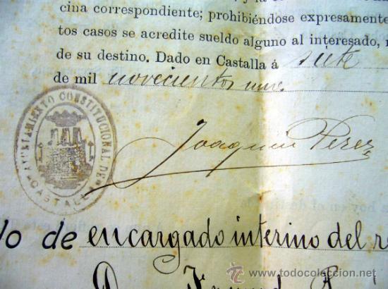 Documentos antiguos: DOCUMENTO, DOCUMENTO ANTIGUO, TITULO DE ENCARGADO INTERNO DEL RELOJ PUBLICO, 1901 - Foto 6 - 35377393