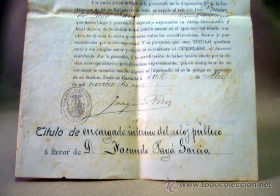 Documentos antiguos: DOCUMENTO, DOCUMENTO ANTIGUO, TITULO DE ENCARGADO INTERNO DEL RELOJ PUBLICO, 1901 - Foto 5 - 35377393