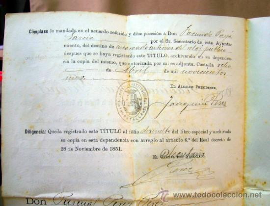 Documentos antiguos: DOCUMENTO, DOCUMENTO ANTIGUO, TITULO DE ENCARGADO INTERNO DEL RELOJ PUBLICO, 1901 - Foto 3 - 35377393