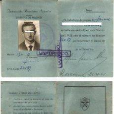 Documentos antiguos: 1959 TARJETA CARNET DE IDENTIDAD DE INSTRUCCION MILITAR SUPERIOR IPS. Lote 35363501