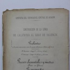 Documentos antiguos: FERROCARRIL CALATAYUD-EL GRAO FERROCARRILES - DOCUMENTO UNICO ORIGINAL 1896. Lote 35396275