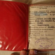 Documentos antiguos: ANTIGUO DOCUMENTO CARNET ESCOPETA CARABINA, ELCHE ALICANTE AÑO 1966. Lote 35410453