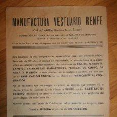Documentos antiguos: CARTEL PUBLICITARIO MANUFACTURA VESTUARIO RENFE - 1955. Lote 35707294