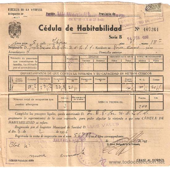 Cedula de habitabilidad valencia a o 1956 comprar en for Cedula de habitabilidad precio