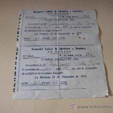 Documentos antiguos: RECIBO CUOTA SINDICAL HERMANDAD DE LABRADORES Y GANADEROS LA ROMANA 1953. Lote 35827970