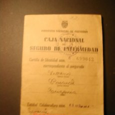 Documentos antiguos: CARTILLA CAJA NACIONAL DE SEGURO DE ENFERMEDAD. 1947.. Lote 35899474
