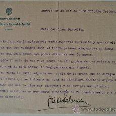Documentos antiguos: CARTA ESCRITA A MAQUINA FIRMADA POR EL JEFE DEL SERVICIO NACIONAL DE SANIDAD. BURGOS 20 OCTUBRE 1938. Lote 35919426