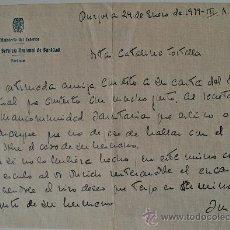 Documentos antiguos: CARTA ESCRITA A MANO POR EL JEFE DEL SERVICIO NACIONAL DE SANIDAD 1939 III AÑO TRIUNFAL. FIRMADA!!!. Lote 35946473