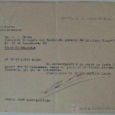 Documentos antiguos: CARTA ESCRITA Y FIRMADA POR EL MINISTRO FRANQUISTA DE EDUCACIÓN JOSÉ IBÁÑEZ-MARTÍN (22 DE ENERO 1951. Lote 35952464