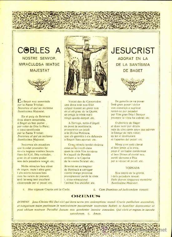 GOIGS: COBLES A JESUCRIST, ADORAT A BAGET (Coleccionismo - Documentos - Otros documentos)