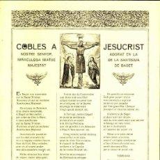 Documentos antiguos: GOIGS: COBLES A JESUCRIST, ADORAT A BAGET. Lote 35972951