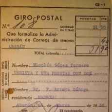 Documentos antiguos: RESGUARDO DE GIRO POSTAL CERTIFICADO ABARAN MURCIA 1936. Lote 36078059